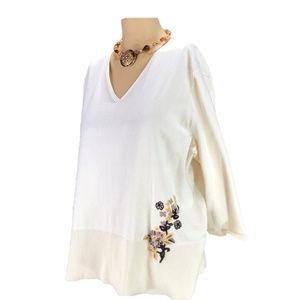 Cream V-Neck Embellished Top~Embroidered Sweater